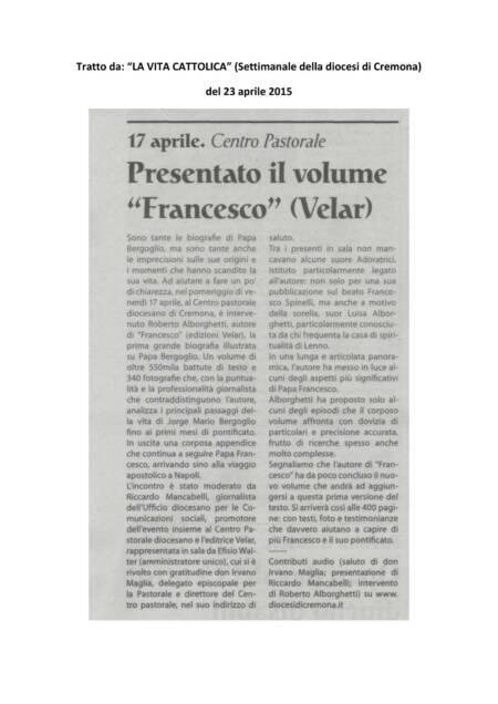 LA VITA CATTOLICA -Cremona aprile 2015