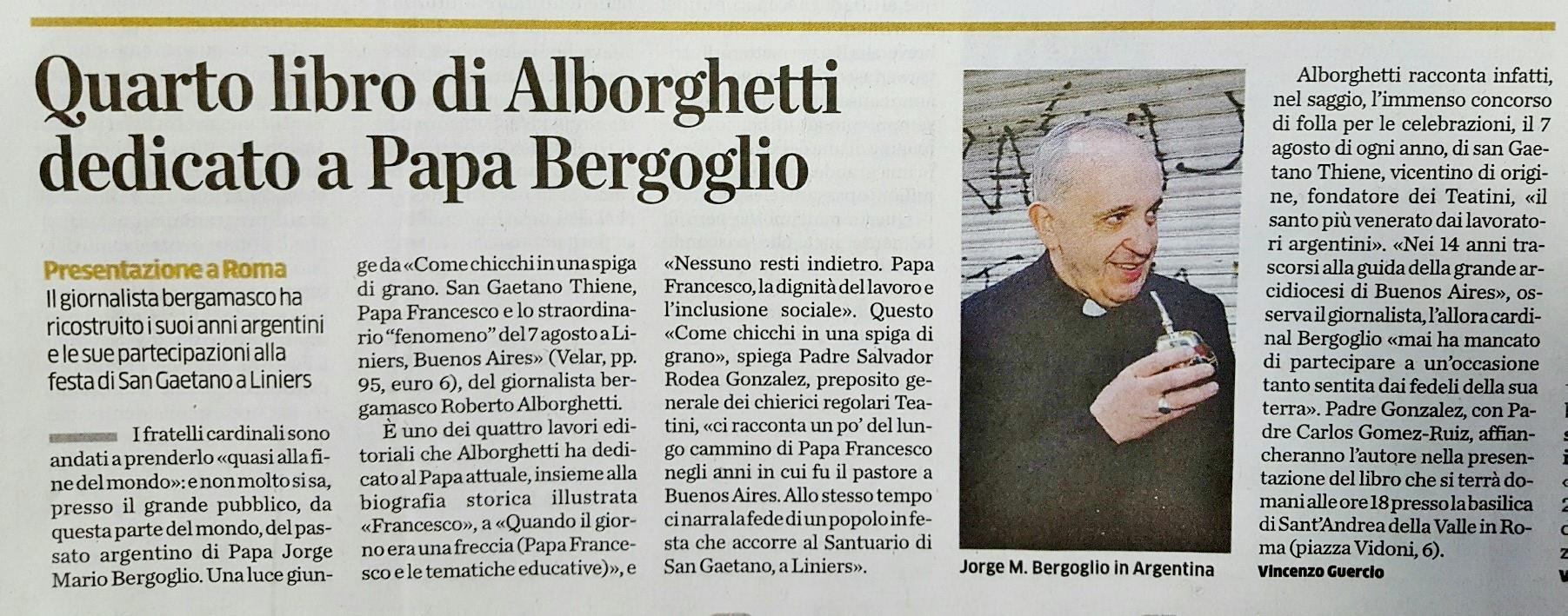 Articolo L'Eco di Bergamo 12/01/2017