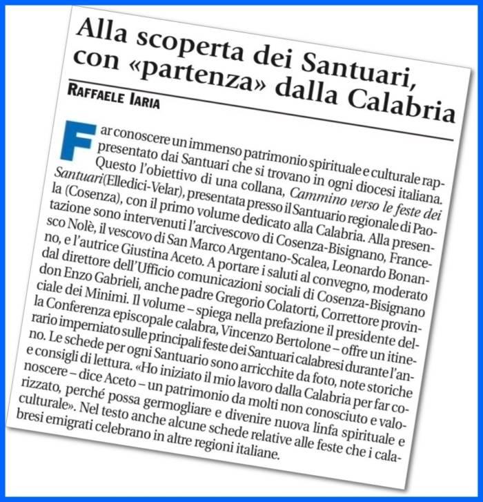 """Articolo di Raffaele Iaria - """"Avvenire"""" 31/01/2017"""
