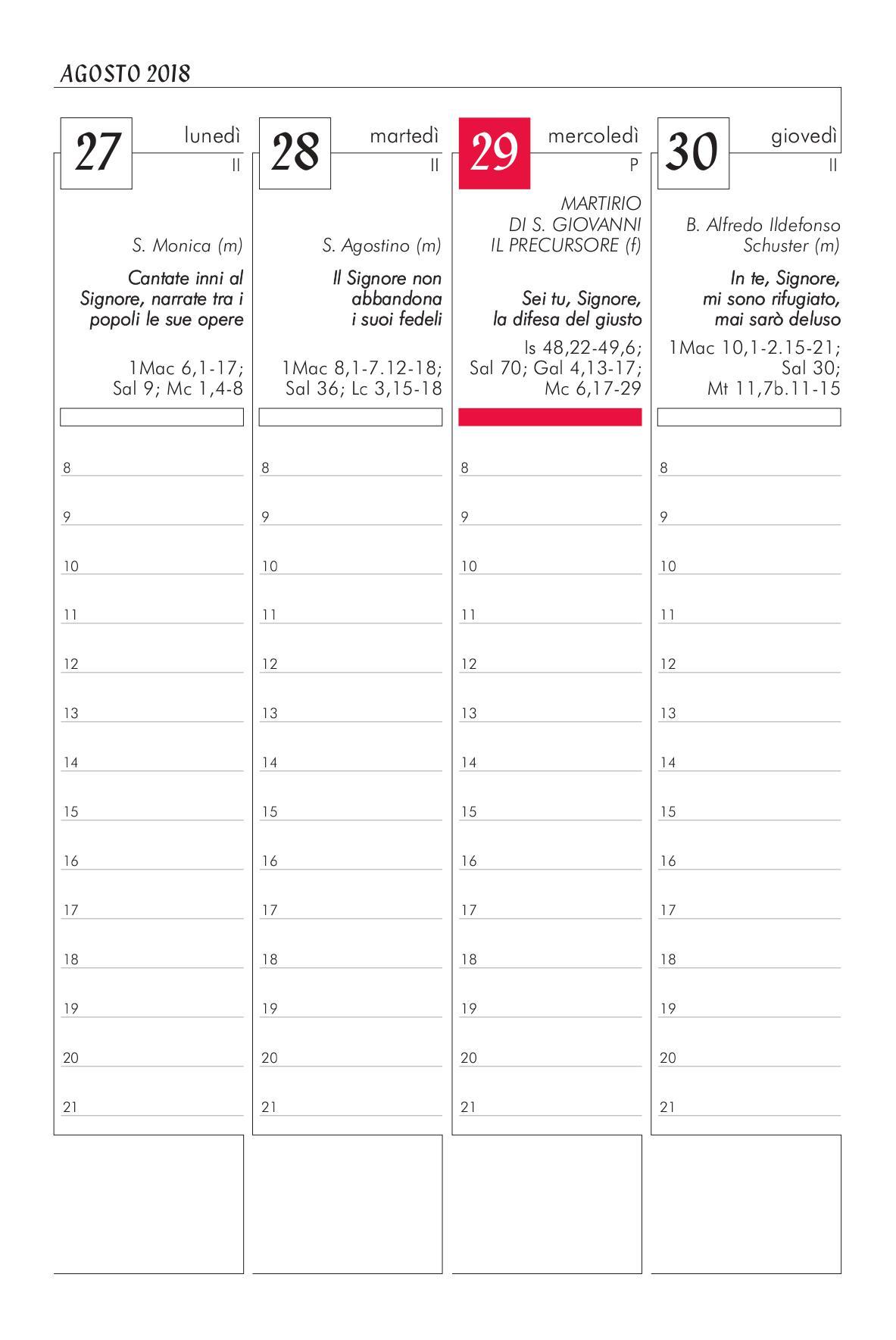 Calendario Liturgico Romano 2020.Agenda Liturgico Pastorale 2018 2019 Rito Ambrosiano